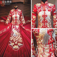 Show Wo clothing bride 2018 new autumn and winter Chinese wedding toast clothing shaking sound with the same paragraph dragon and phoenix wedding dress show kimono