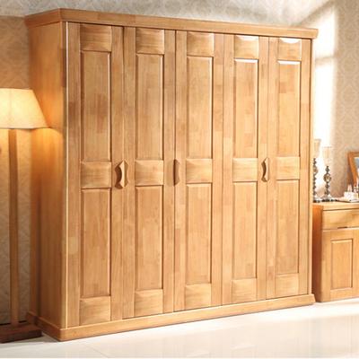 实木衣柜2 3 4 5 6门橡木开门大衣橱 卧室木质四门六门储物柜家具网店网址