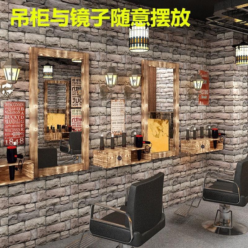 美式台式单面壁挂镜发廊理发店店镜台双面镜实木化妆镜子