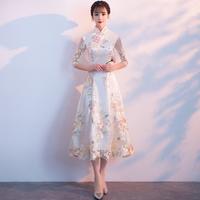 旗袍改良女2019新款修身中长款连衣裙宴会晚礼服长袖日常年轻少女