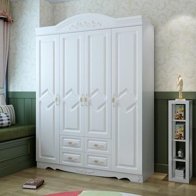 欧式衣柜白色木质大衣柜卧室家具成品衣柜板式组装三四五六门衣橱品牌排行榜
