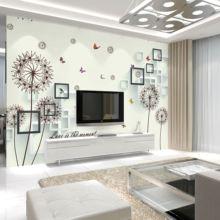 简约抽象卧室无纺布沙发客厅壁纸大型壁画墙纸电视背景手绘薰衣草