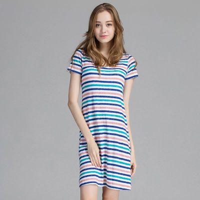 夏季莫代尔带胸垫短袖睡裙免穿文胸bra一体女款中长裙睡衣家居服
