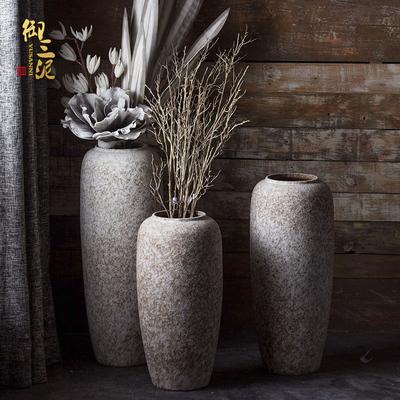现代简约白色陶瓷落地大花瓶摆件客厅橱窗会所酒店插花花器陶罐