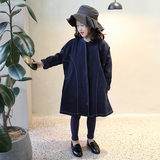 Girls' outerwear autumn 2019 new style foreign style outerwear fashion kids Korean casual girls' long style windbreaker fashion