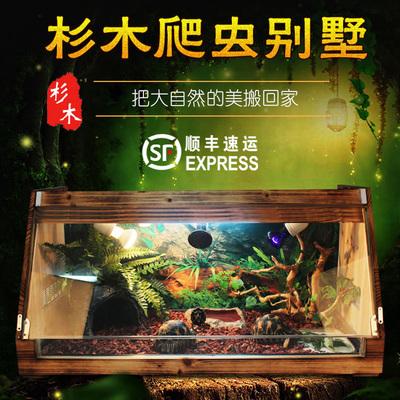 爬虫宠物饲养箱斜面爬虫箱陆龟蜥蜴蛇实木箱保暖保温箱带托盘