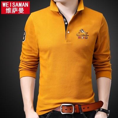 男士长袖t恤带领纯色薄款秋季中年丅血丝光棉男装体桖潮流polo衫