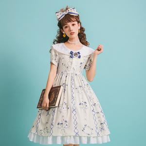 【矢车菊】【现货】lolita洛丽塔洋装 印花蕾丝翻领短袖 op连衣裙