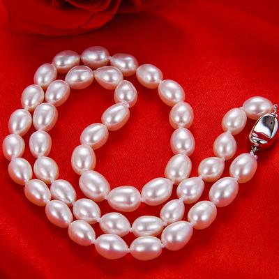 正品米型天然淡水珍珠项链女送妈妈婆婆礼品椭圆强光锁骨简约颈链