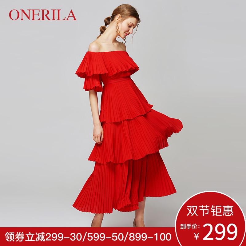 百褶礼服连衣裙