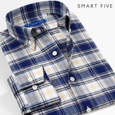 第五季 纯棉休闲格子长袖男衬衫磨毛青年加厚法兰绒衬衣修身男装