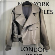 Jiang Shuying's New Type of Leather Garment for Spring 2019 Women's Short Suit with Loose Profile Locomotive High Waist Leather Jacket