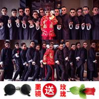 中式结婚礼服伴郎伴娘服男民国长衫创意中国风兄弟团长袍古装大褂