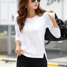 显瘦纯白色棉长袖 女款 范休闲打底衫 时尚 t恤女韩版 春秋季新品 上衣