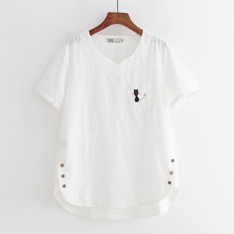 棉布镂空短袖女夏装