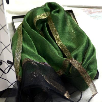 欧根纱丝巾真丝肌理纹墨绿色围巾桑蚕丝韩版纱巾新娘旗袍礼服披肩