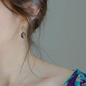 婚礼水滴耳坠女 进口加拿大原创设计师优雅紫色水晶泪滴耳环紫色