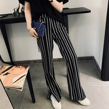 Side-open black-and-white striped casual trousers Women's loose high waist sag feeling straight barrel slim Hong Kong breeze trousers summer 2019 new style