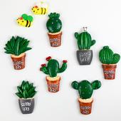 儿童早教 创意吸铁石田园多肉留言贴 绿色植物仙人掌冰箱贴磁贴