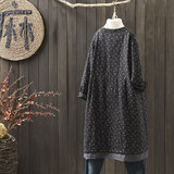 Maple mystery winter 2018 vintage loose cotton and linen flannelette women's national style long cotton coat