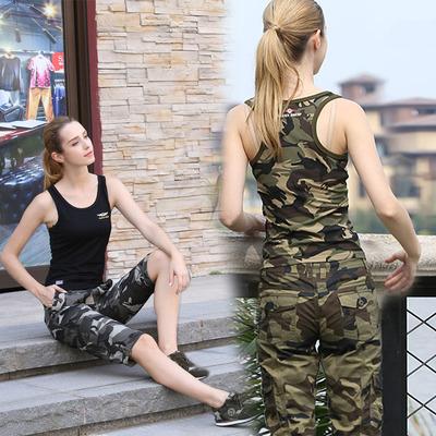 绿色装备运动休闲工字背心女夏外穿短款纯棉迷彩修身显瘦打底T恤