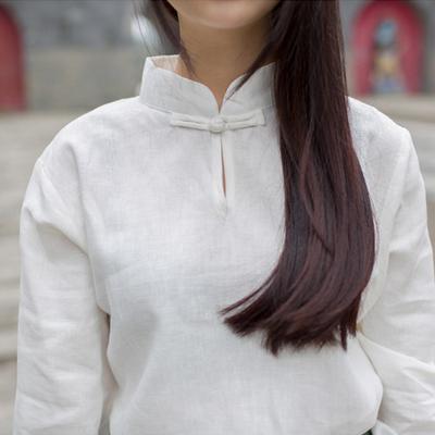 中长款复古棉麻衬衫女春季民族风女装盘扣立领上衣白色简约打底衫