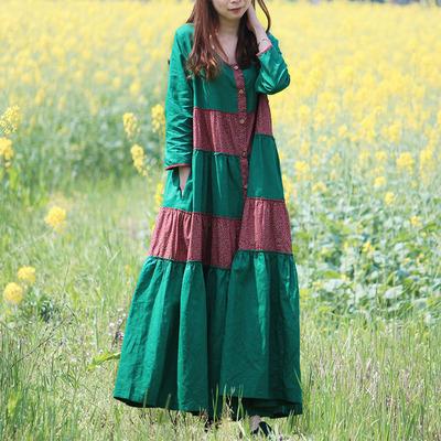 乱在江南棉麻连衣裙长袖文艺复古女装中长款宽松秋冬款民族风长裙