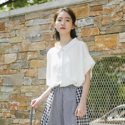 2018新款短袖衬衫女夏季韩版文艺白衬衣女半袖宽松百搭显瘦雪纺衫