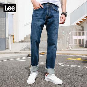 Lee男装 2018春夏新品深蓝色牛仔裤中腰合体直筒裤子LMC7432UZ7ZS
