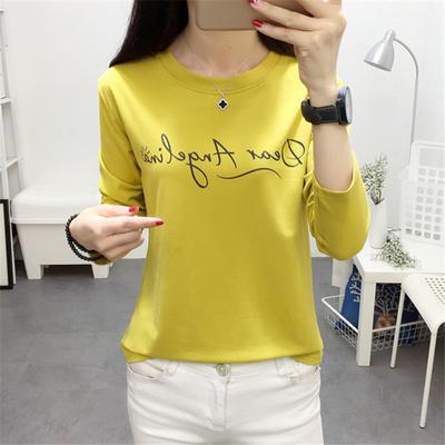 女春装2018新款上衣服黄色字母t恤女长袖学生时尚打底衫秋衣外穿