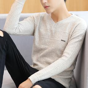 加绒毛衣男韩版2017新款修身毛衫V领线衣男装冬装长袖针织打底衫