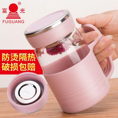 富光玻璃杯便携水杯带把办公杯带盖过滤网杯子男女泡茶家用花茶杯