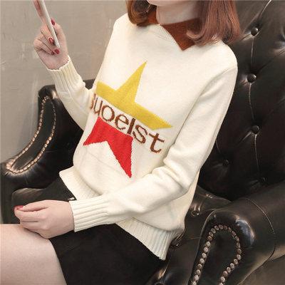 春秋季娃娃领女毛衣针织打底衫韩版新款五角星绣花修身百搭外套