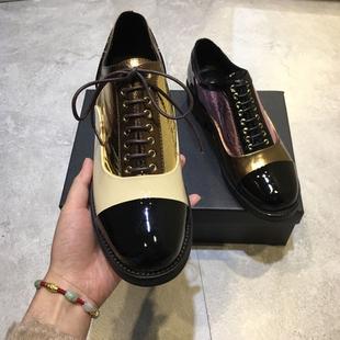 清仓特价林允同款欧美拼色系带英伦风女鞋小皮鞋漆皮布洛克单鞋女