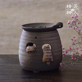 Spot Japanese original import sliding climbing cat tea incense furnace refreshing brain fragrance furnace ceramic ornaments