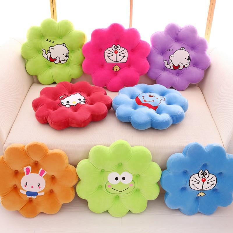 圆形垫子卡通创意靠垫 花朵加厚毛绒坐垫椅垫办公室电脑椅子坐垫