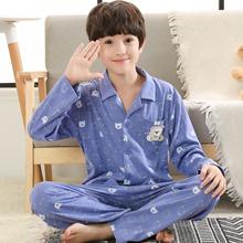 Children and boys in pajamas 12-15 years old boys junior high school students spring and autumn cotton spring long sleeve 8 thin 10