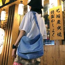 女先生单肩 包邮 ins帆布包女 日系韩版 差包牛仔布学院风百搭斜挎包
