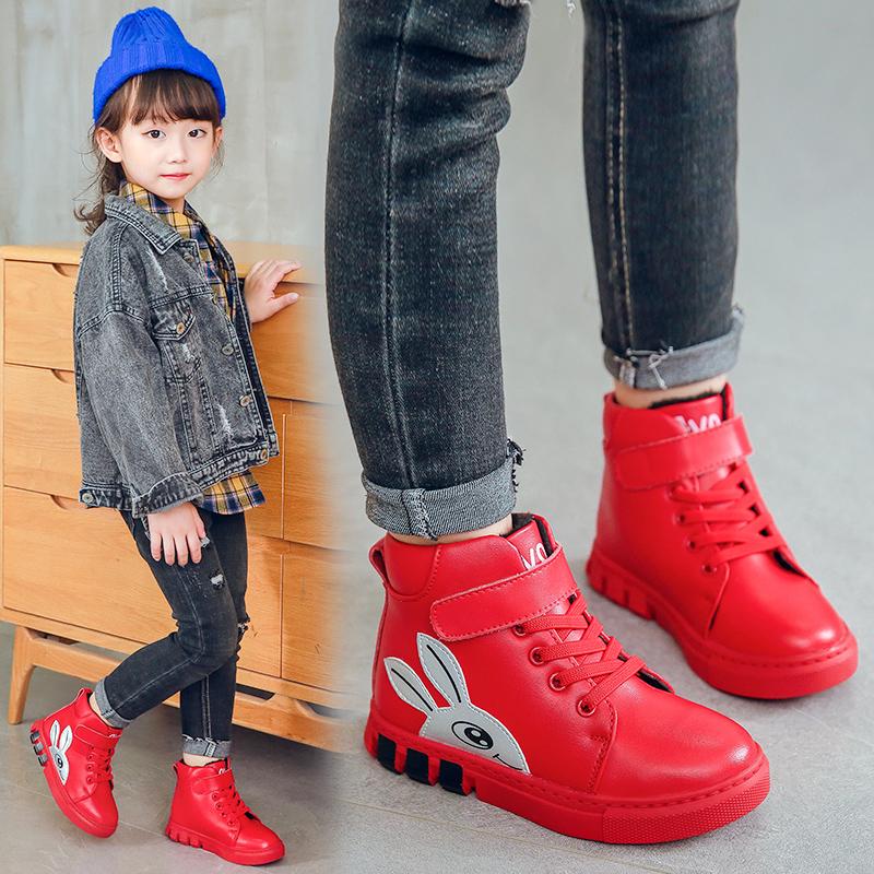 儿童女真皮棉鞋