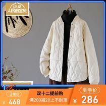韩版白鸭绒羽绒服女上衣轻薄款秋冬季大码宽松立领暗扣保暖短外套