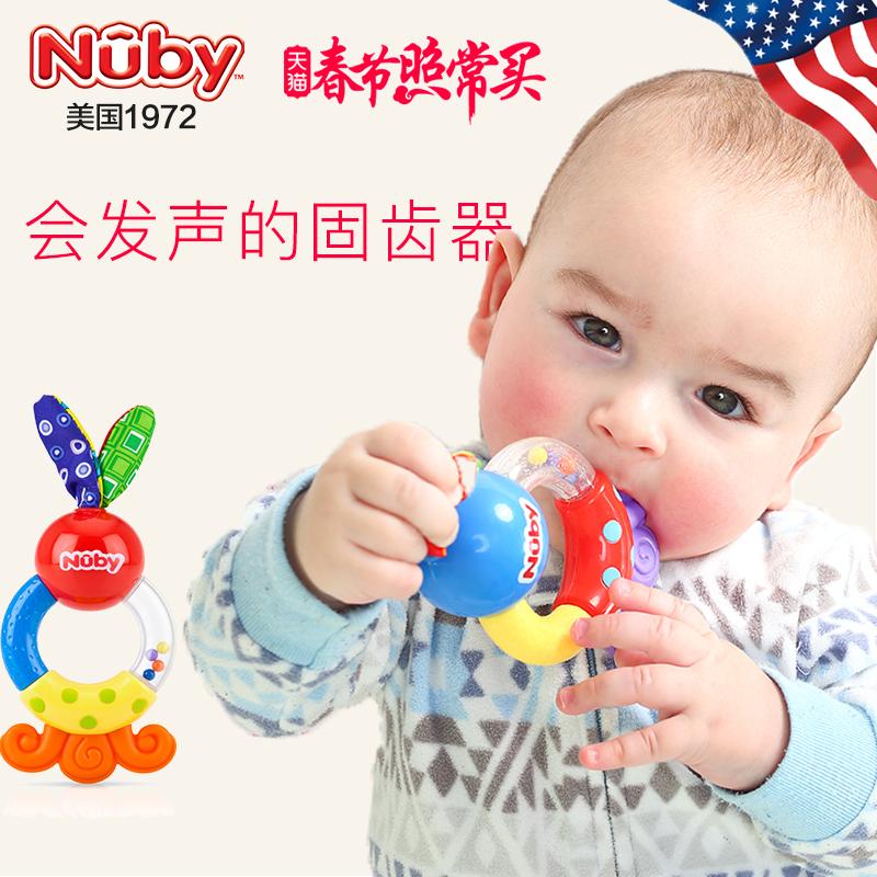 Nuby努比兔角牙胶婴儿磨牙棒固齿器宝宝磨牙棒带声音不含双酚A