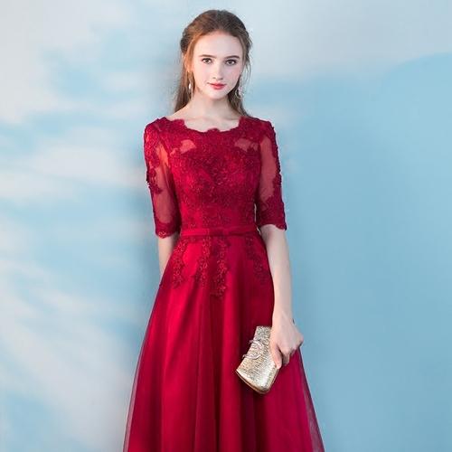 2018新款敬酒服新娘红色长款婚礼秋季宴会晚礼服结婚回门连衣裙女