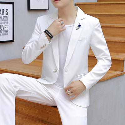 秋季男士薄款纯色小西装套装韩版修身时尚休闲潮男西服外套三件套