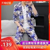 套装 薄款 修身 时尚 小西装 夏季男士 印花中袖 七分袖 韩版 西服三件套