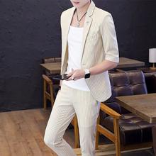 中袖 套装 小西服套装 青年男英伦七分袖 修身 西装 夏季韩版 礼服男 短袖