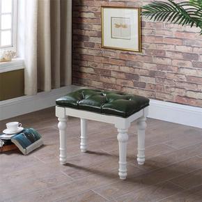 美式实木梳妆凳 现代简约卧室梳妆台小凳真皮钢琴凳化妆凳子欧式