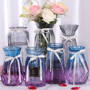 饰花盆 透明玻璃花瓶北欧客厅插花干花摆件现代简约大小花器清新装