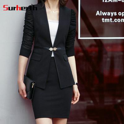 高端品牌素亨 18夏季新款韩版中臀中袖纯色修身套裙职业女士套装