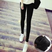 打底裤女外穿2018新款显瘦黑色紧身小脚高腰小黑裤加绒加厚秋冬季