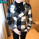 秋冬装毛呢大衣男短款韩版格子男士呢子风衣修身潮流社会尼子外套